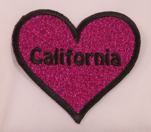 Brodé Rose Paillette Californie ca State Coeur Amour Patch à Repasser