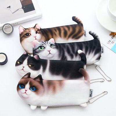 Cute 3D Simulate Cat Makeup Cosmetic Case Pen Pencil Bag Zipper Coin Pouch Purse