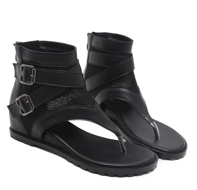 Womens Sandals Boots Flip Flops Black Med Low Heels Buckles Mesh Zip Casual New