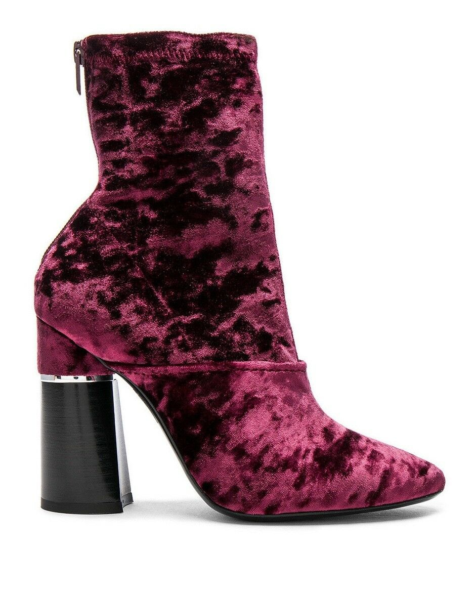 NEW 6.5 / 36.5 3.1 Phillip Lim Kyoto Syrah Maroon Crushed Velvet Boots $695