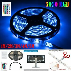USB-LED-Strip-Light-5050-RGB-Color-Changing-TV-Backlight-Bike-Car-Decor-Lamp-Set