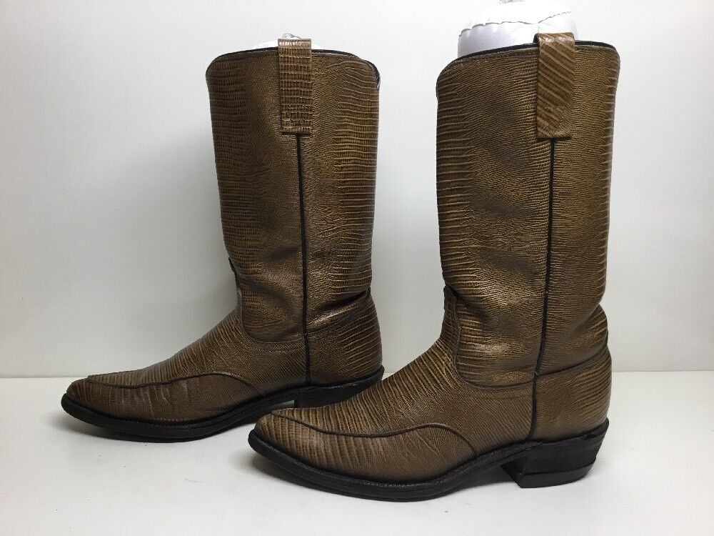 VTG WOMENS ACME COWBOY LIZARD PRINT 7.5 LEATHER BROWN BOOTS SIZE 7.5 PRINT A b32176