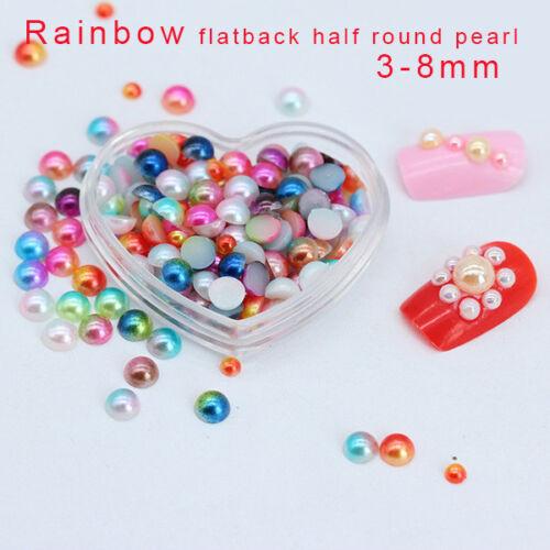 3//4//5//6//8mm Multicolor Flat Back half pearl beads Nail rhinestone Wedding Decora