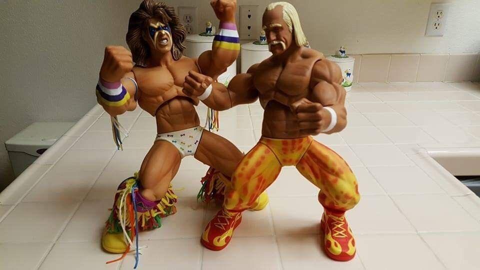 WWE Jakks Pacific Wrestling Action Figure Hulk Hogan and ultimate warrior 14 in.