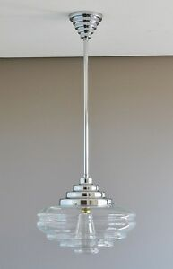 ST-KILDA-ART-DECO-LIGHT-CHROME-PENDANT-ROD-034-CHATEAU-034-CLEAR-GLASS-SHADE-retro-NEW