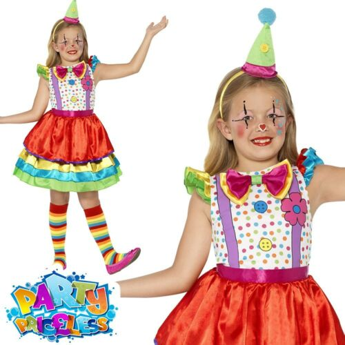 Girls Clown Costume Child Circus Deluxe Fancy Dress Outfit Book Week Day Kids