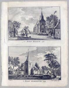 Goch-Hommersum-Hassum-2-Kupferstiche-von-van-Liender-de-Beyer-1758
