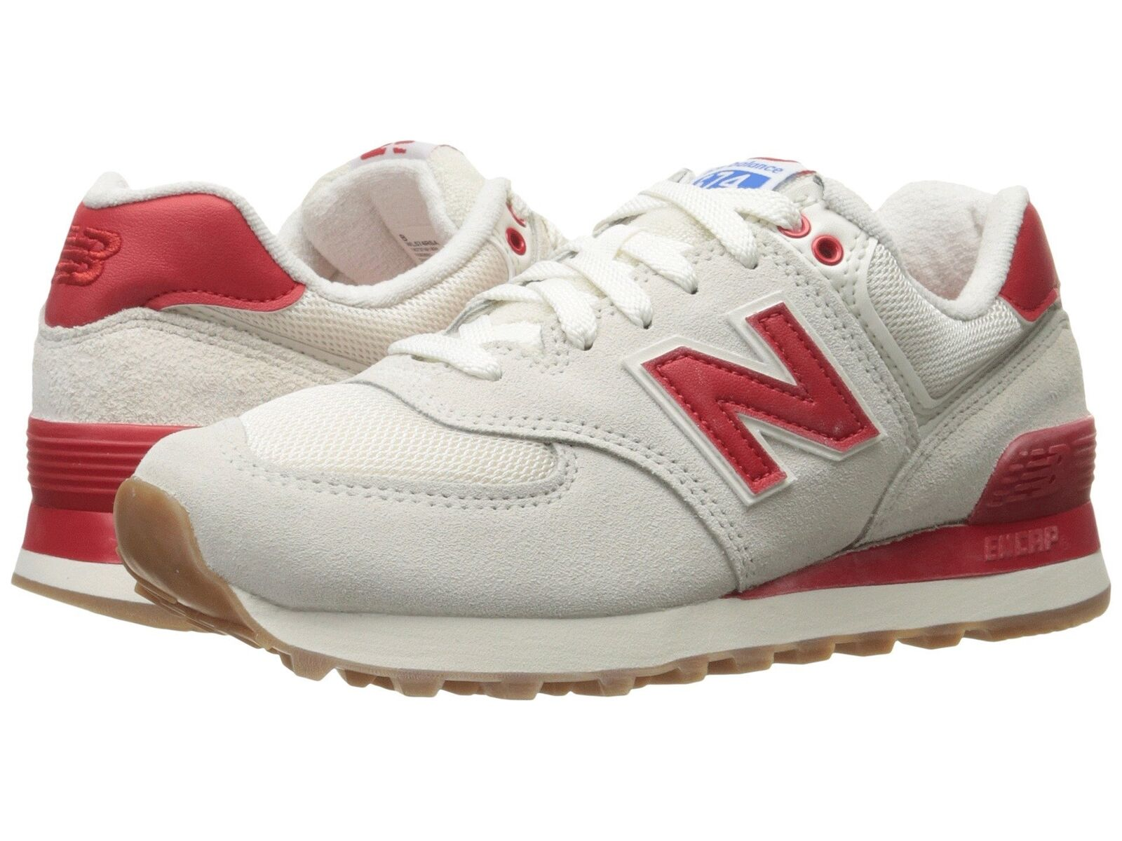 New Balance Women's Fashion Sneakers 574 Retro Sport Sea Salt Red WL574RSA