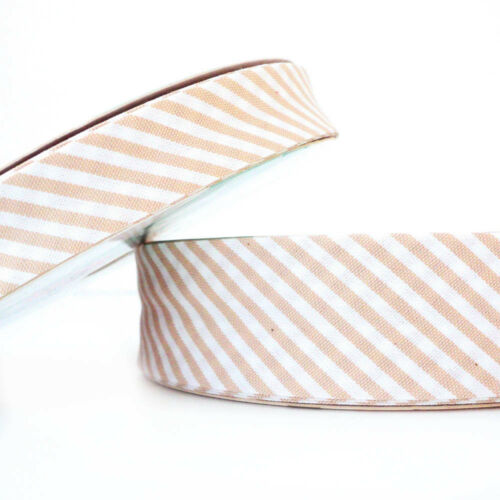 Stripe Bias Binding Cotton Fabric Folded Trim extra wide Beige 30mm