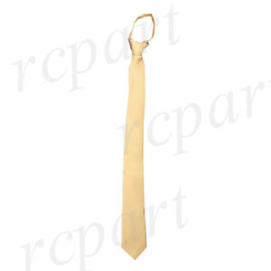 "New Poly Men's ready knot zipper pre tied 2.5"" skinny neck tie gold formal"