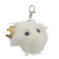 Lux Accessories White and Glitter Crown Googly Eyes Faux Fur Keychain Bag Charm