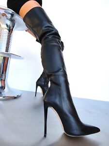 Luxury 44 Overknee Shoes Boots Couture Stivali Custom Stiefel Nero Leather Cq gqwEZUHR