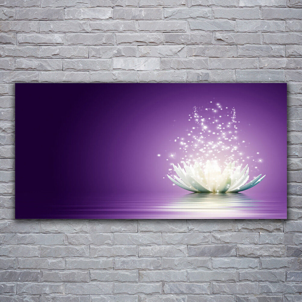 Verre Imprimer Wall Art Image 120x60 Photo Lotus Floral