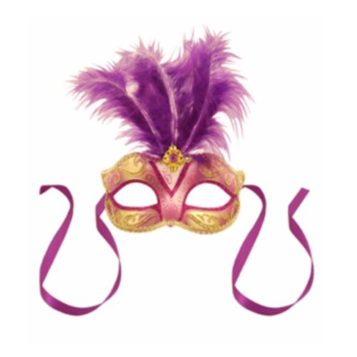 Venetian Glitter Fancy Dress Eye Mask Small Center Feather Masquerade Ball Mask