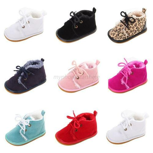 HOT Baby Boy Girl Winter Warm Boots Toddler Kids Soft Crib Shoes Sneakers 0-18M