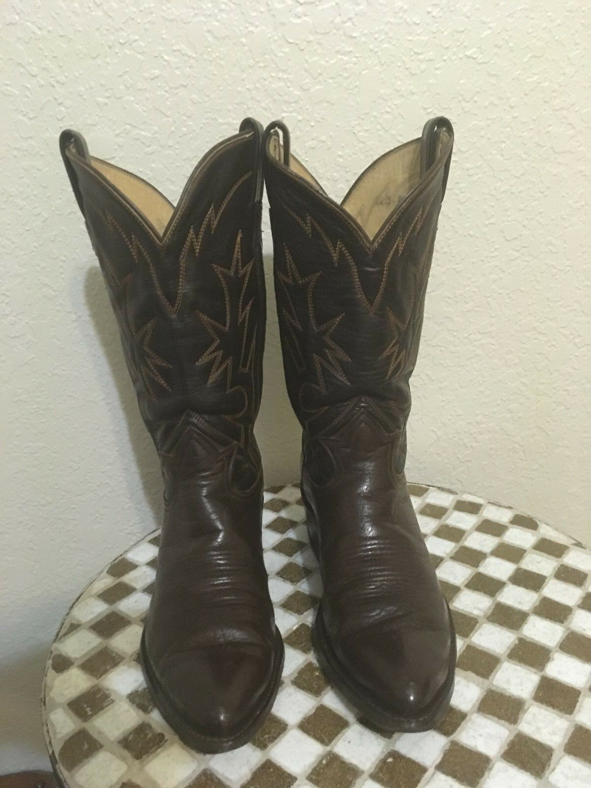 BROWN USA TONY LAMA WESTERN TRAIL BOSS COWBOY BOOTS 9.5 D