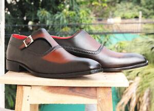 Homme-Fait-a-la-main-en-cuir-marron-fashion-Chaussures-Moine-Richelieu-a-sangle-Robe-Formel