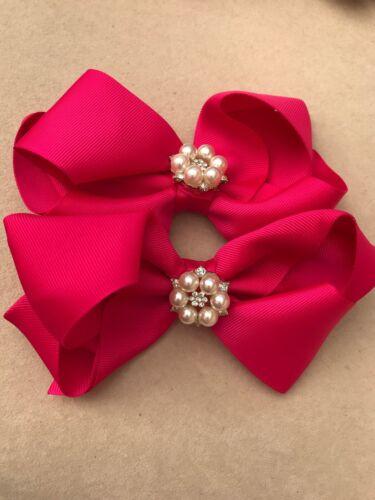 Hair Bow fille bébé environ 8.89 cm Handmade Cristaux Perle Cerise Rose Pince à cheveux grand 3.5 in