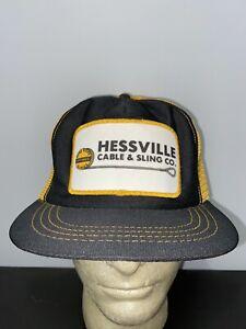 Trucker-Hat-Baseball-Cap-Vintage-Snapback-Mesh-Hessville-Cable-amp-Sling-Patch-Lid