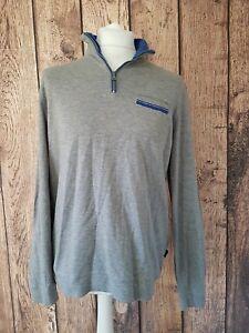 Mens-Hugo-Boss-Long-Sleeve-Top-T-Shirt-Sweatshirt-Grey-Xl-Quarter-Zip-46-Chest