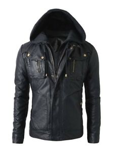 Motorcycle 50 Style Leather Real Mens Hoodie Biker petto Size Brando Jacket 3xl aHwwxp