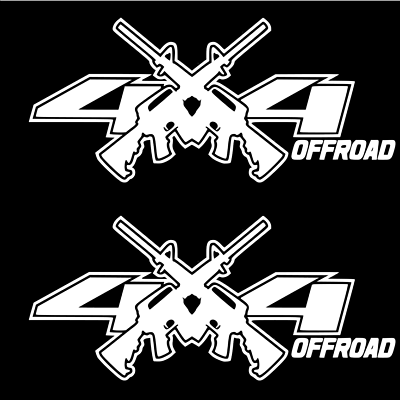 BLACK 4x4 Decals Stickers Ford Chevy RAM 1500 2500 f150 f250 jeep AR15 M4 decal