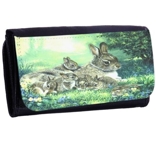 Rabbit Family Bi-fold Zipper Bill /& Card Holder Long Wallet