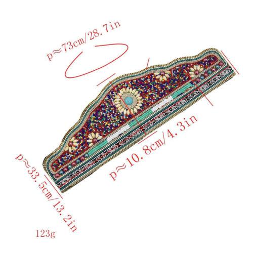Boho Skinny Belt with Handmade Turquoise Beaded Wide Stretchy Ethnic Beaded