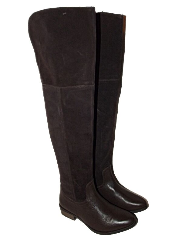 NEW EX ASOS KNOCK KNOCK LEATHER SUEDE OVER THE KNEE THIGH HIGH PIRATE BOOTS 3-8