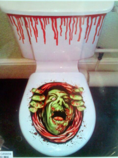 Green Zombie Toilet Seat Lid Clings Halloween Party Decorations