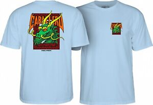 Powell-Peralta-Steve-Caballero-GREEN-DRAGON-AND-BATS-T-Shirt-POWDER-BLUE-MEDIUM