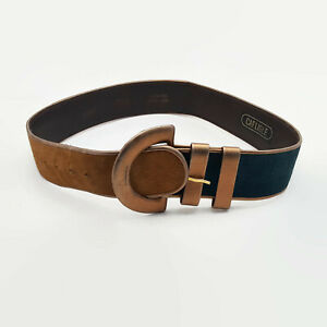 Carlisle-Women-039-s-Genuine-Leather-Brown-Red-amp-Green-Suede-Belt-Size-S