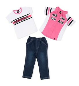 Harley-Davidson-Infant-amp-Baby-Girl-Denim-Trousers-And-2-Shirts-1-white-1-Pink