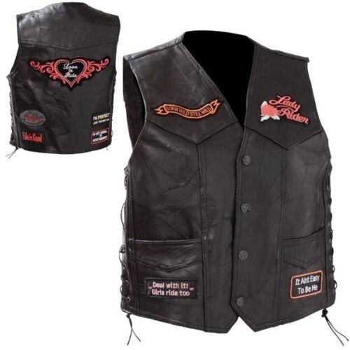 Diamond Plate Ladies Rock Genuine Leather Vest Patch Biker Motorcycle Womens