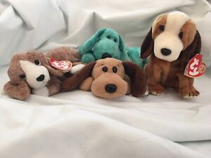Ty Beanie Babies Sniffer, Bones, Diddley & Holmes (set of 4) NWT