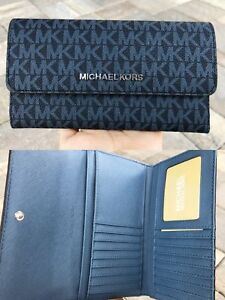 b702784817fce4 ... coupon code for image is loading michael kors jet set travel large  trifold wallet 24748 acbaf
