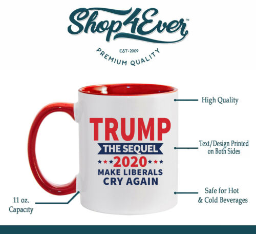 4 Pack - Trump The Sequel Make Liberals Cry Again Red Handle Ceramic Coffee Mug