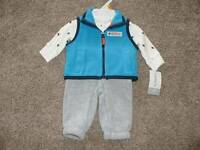 Carter's Baby Boys Penguin Fleece Vest 3pc Set Outfit Size NB Newborn NWT NEW