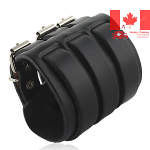 3-Layer-Wide-Belt-Genuine-Leather-Men-Wristband-Black-Bracelet-Unisex-Couple