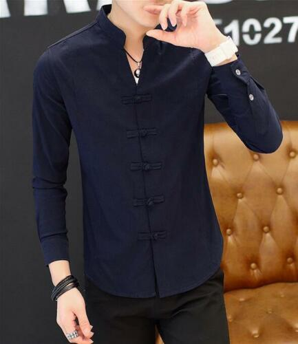 Chinese Style Men/'s Slim Fit Stand Collar Tops Casual Shirt long Sleeve Coat New