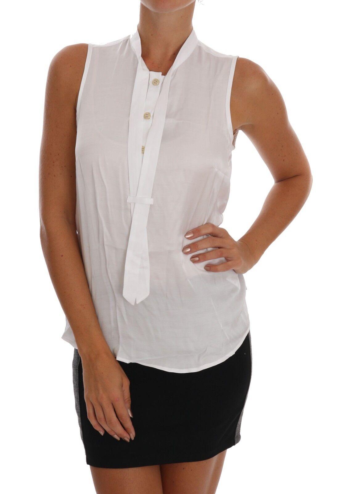 NEW  VERSACE JEANS VJ Shirt Blouse Top Weiß Sleeveless Viscose IT40  US4  S