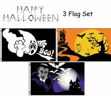3x5 Happy Halloween 3 Flag Wholesale Set #4 3'x5' House Banner Grommets
