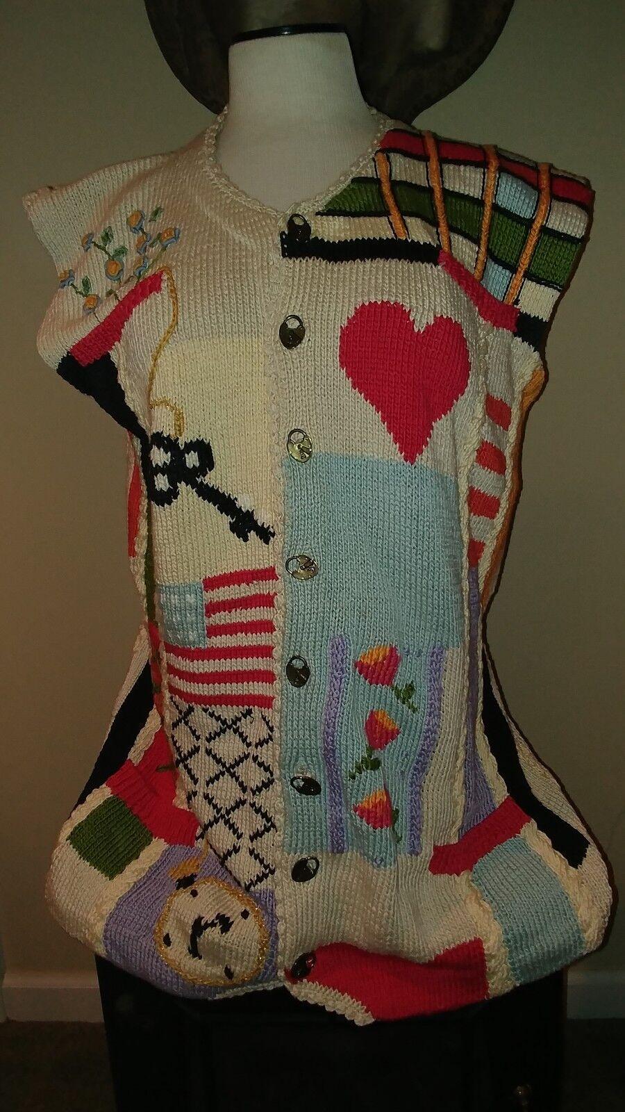 Outstanding Berek Marta D Vintage 1992 Handknit Cotton Cardigan Size M Hearts