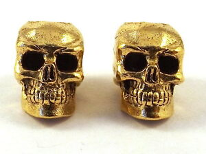 2-Gold-Tone-Pewter-Beads-12mm-SKULL-4-5mm-Vertical-Hole-5275