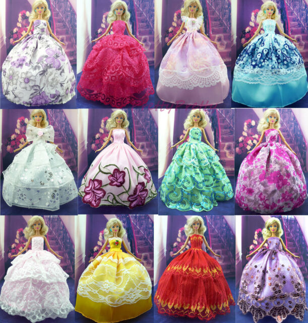 6x Handmade Wedding Dress Party Clothes Outfits For 11.5inch 12 inch 1/6 Doll