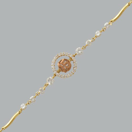 NEW 14K TWO-COLOR gold CZ 15 ANOS BRACELET FANCY QUINCEANERA   6  - 7