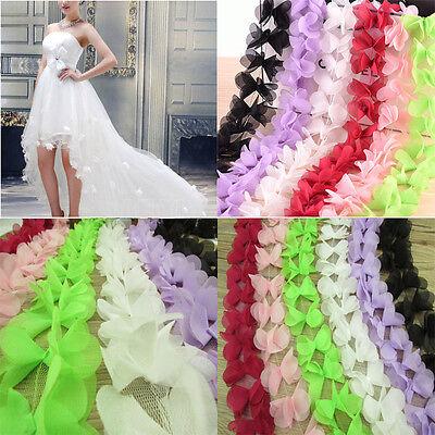 1M 3D Flower Petal Chiffon Leaves Trim Wedding Dress Bridal Lace Fabric Doll DIY