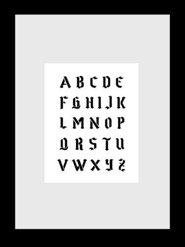 Extra kleine Schrift Schablone gotische Schrift für Scrapbooking und Grusskarten