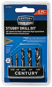 5 Piece Stubby Hex Shank Drill Bit Set CENTURY DRILL /& TOOL 17905
