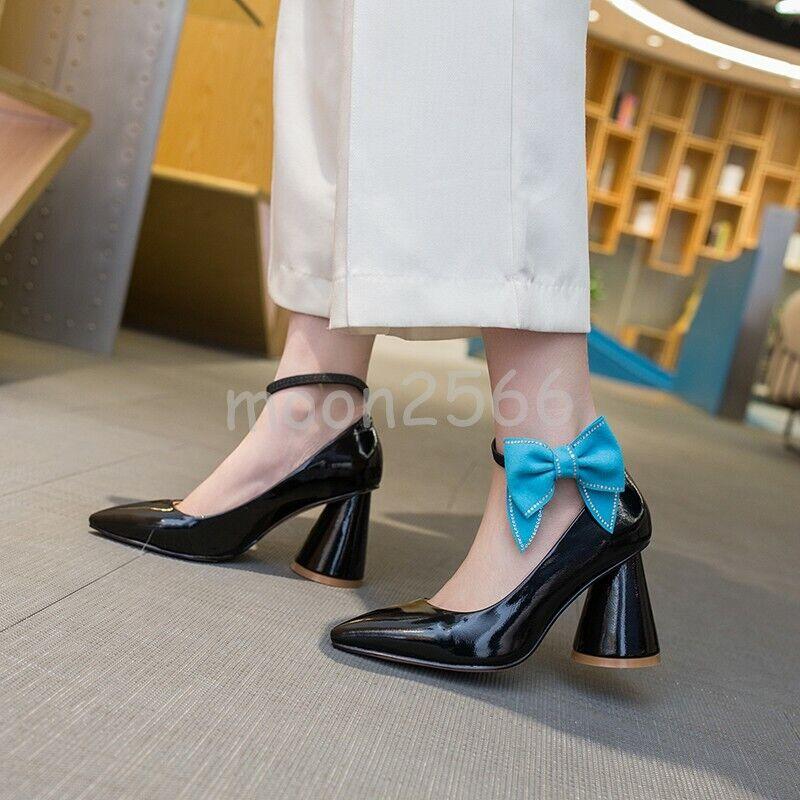 risparmia il 60% di sconto e la spedizione veloce in tutto il mondo Occident donna donna donna Cone Heels Bowknot Pointed Toe Pumps Ankle Strappy Leather scarpe  prezzi più convenienti